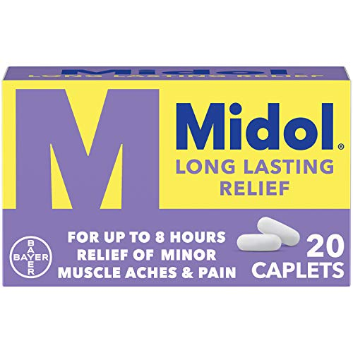 Midol Long Lasting Relief, Menstrual Pain Reliever & Fever Reducer, Caplets with Acetaminophen for Menstrual Symptom Relief - 20 Count (Packaging May Vary)