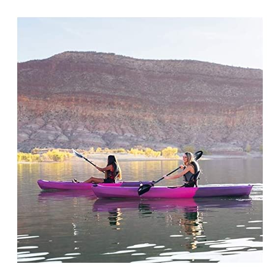 Lifetime Lotus Sit-On-Top Kayak with Paddle 4 Kayak Paddle included. Hull design provides ultra stability and great tracking Multiple footrest positions for different size Paddlers. Includes hard adjustable backrest Scupper holes drain Cockpit area. Molded Paddle cradle. Easy carry handle