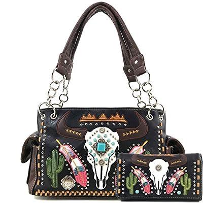 Justin West Native Longhorn Cow Skull Cactus Feather Color Conceal Carry Shoulder Handbag Purse | Trifold Wallet (Black Purse Wallet Set)