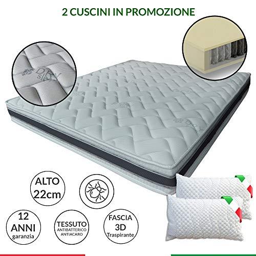 Materasso 800 molle insacchettate indipendenti, Comfort 7 zone+2 cuscini, fascia 3D e fibre Naturali, matrimoniale 165x190 cm