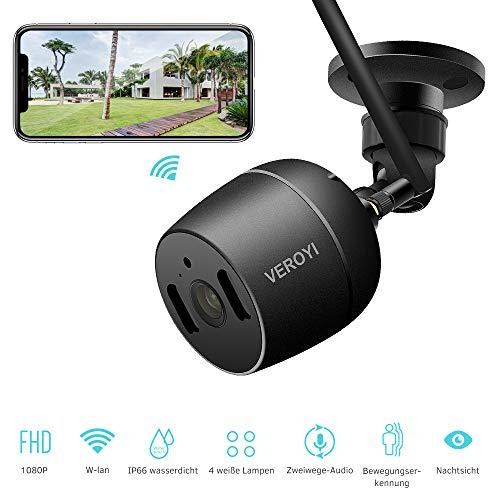 Veroyi Outdoor-Überwachungskamera, 1080P WiFi IP-Überwachungskamera für den Heimgebrauch mit vollfarbiger Nachtsicht-Bewegungserkennung 2-Wege-Audio Kompatibel mit iOS- und Android-Smartphones