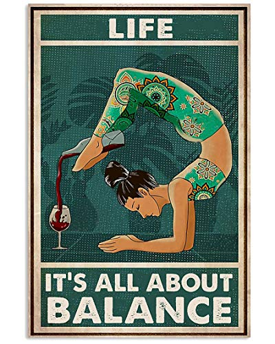 AZSTEEL Yoga Life It's All About Balance   Cartel sin marco para decoración de oficina, el mejor regalo para familia y amigos de 35 x 40 cm