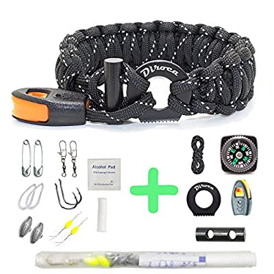 Paracord Bracelet Survival Gear | 550 Premium Black Reflective Parachute | Outdoor Emergency First Aid Tool Kit 19 in 1 Compass, Fire Starter, Emergency Knife, Whistle, Rescue Rope & Food Fishing from Diroca Group LLC