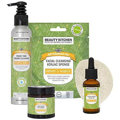 Beauty Kitchen Abyssinian Oil Kit completo de impulso de Hydra para cara con aceites de semilla de plantas ultra hidratantes, crema de día/limpiador de crema/aceite facial/esponja Konjac