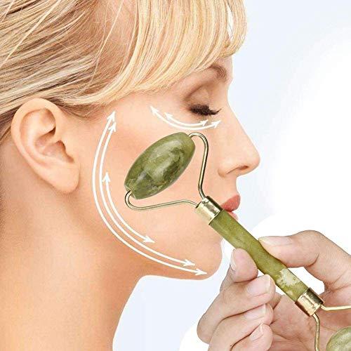 fibUNIve Rouleaux De Pierre pour Le Visage Facial Body Eyes Neck Massager Tool Réduire Les Rides De Vieillissement - Original Natural Jade Stone Quartz Rose