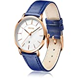 OLEVS Watches for Women Waterproof Wristwatches Analog Quartz Ultra Thin Blue Watches Leather Strap Watches with Date Calendar Watches,Gifts for Women