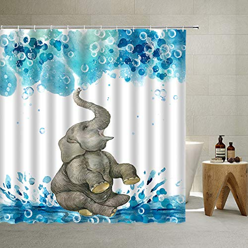 Animal Bathroom Shower Curtain Funny Cartoon Watercolor Children Africa Elephant Playing Water Bathing Bubble Blue Water Pool Waterproof Bathroom Decoration Set with Hook ,70x70 Inch