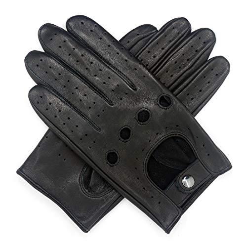 Harssidanzar Uomo Touchscreen che guida touch screen guanti di pelle di pecora sfoderato GM026EU,nero,Taglia S