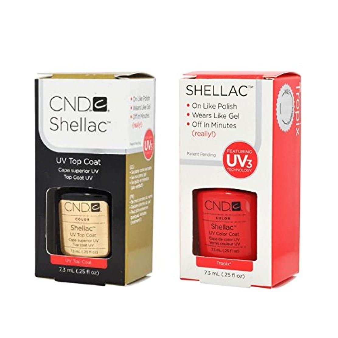 掘るセントより良いCND Shellac UVトップコート 7.3m l  &  UV カラーコー< Tropix >7.3ml [海外直送品]