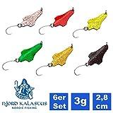 Njord Kalastus Trout Spoon - Set de señuelos de pesca para trucha, set de señuelos UL, juego de señuelos de pesca con anzuelos individuales, cebo artificial, 3 g, multicolor brillante, 6er Set
