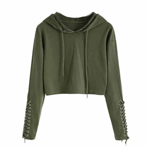 0b22083b86a088 Realdo Womens Solid Bandage Hole Bandage Jumper Sweater Crop Top Sports  Pullover