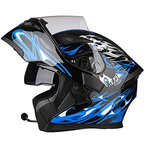 Cascos Bluetooth modulares para motocicleta visor doble tipo abatible de cara completa hombres adultos Mujeres Sistema de comunicación de integrado Certificación ECE,G,L 58~59cm
