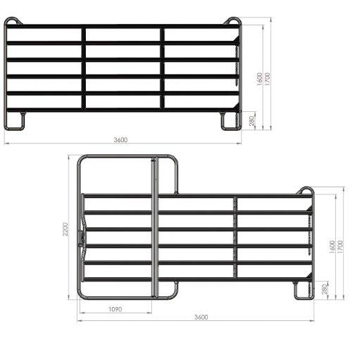 Kerbl Panel - Zaunelement 2,4 m mit Tor (incl. Kettenverschl.)