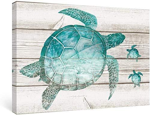 SUMGAR Cuadro de tortuga marina azul, arte sobre lienzo, decoración rústica, turquesa, animales, decoración natural, sin marco, para casa, pasillo, dormitorio, oficina, 30 x 40 cm