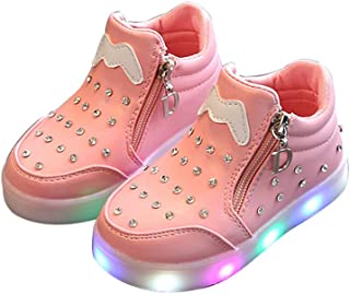 Fashion Children Kids Girls Side Zip Crystal LED Light up Luminous Sneakers Shoes