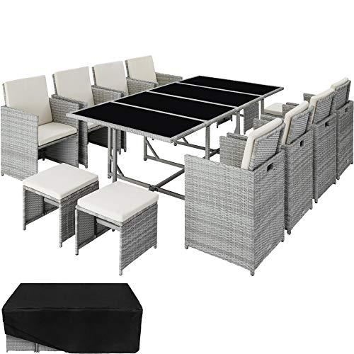TecTake 800823 Poly Rattan 8+4+1 Sitzgruppe, 8 Stühle 4 Hocker 1 Tisch, als Würfel verstaubar, inkl. Schutzhülle & Edelstahlschrauben (Hellgrau | Nr. 403728)