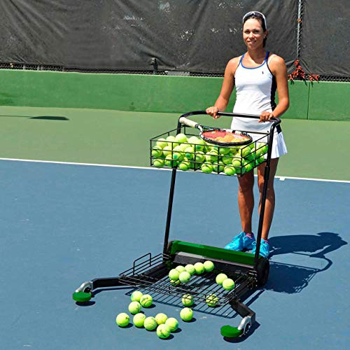 Tennis Multimower - Tennis Ball Mower and Teaching Cart | 300 Ball Capacity, 2 Baskets | Easy to Transport | Jam-Free Guarantee | Hinged Arms to Pass Through Gates | Weatherproof Cover Included