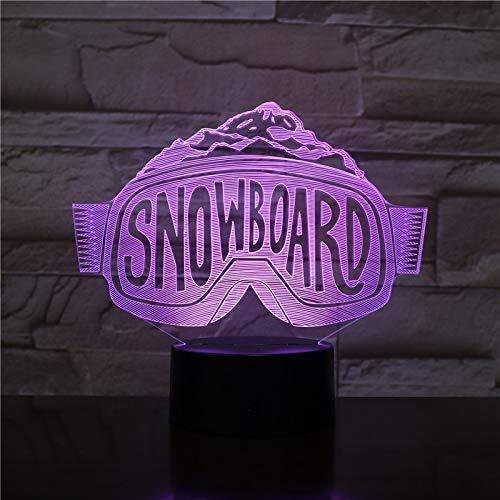 Snowboard Shape 3D Illusion 7 Farbige optische Lampe LED-Nachttischlampe mit USB-Kabelverstärker;Fernbedienung Kinder Geburtstag Weihnachtsgeschenk
