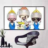 キャンバス絵画犬美容師プリント乾燥フード下面白いポスター犬読書雑誌理髪店ウォールアートキッズルームの装飾-50x70cmフレームなし