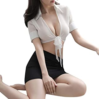 CYYMY Damen Sekretär Cosplay Tragen Büro Uniform Kostüm Teddy Einstellen Anzieh Deep V Hohl 3 Stück Einstellbar Dessous Schlafanzug Clubwear