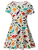 ALISISTER Toddler Dinosaur Dress Girls Casual Sundress Kids Crew-Neck School Dance Twirl Dresses Birthday Party Outfits Summer Home Playwear