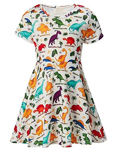 Toddler Girls Short Sleeve Dress Dinosaur Dress Animal World White Summer Dress Casual Swing Theme Birthday Party Sundress Toddler Kids Twirly Skirt