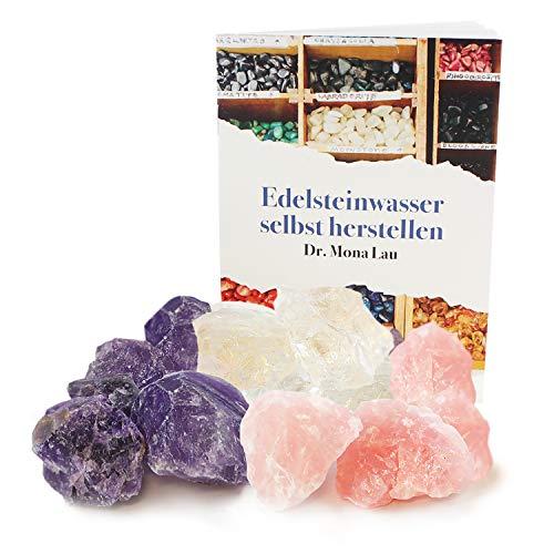 250 Gramm Edelsteine zur Herstellung von Edelsteinwasser plus Booklet, Jutebeutel und Holzkiste I Rohsteine Rosenquarz, Amethyst und Bergkristall I 100% Natürliche Heilsteine