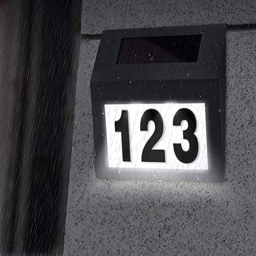 YRHome Solarhausnummer Hausnummer Solar Hausnummernleuchte mit 2 LEDs Beleuchtung Edelstahl IP65 Dämmerungsschalter (Anthrazit)