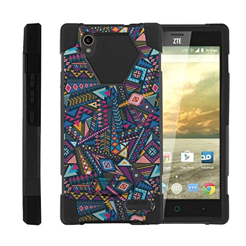 Compatible with ZTE Warp Elite Case | N9518 [Dynamic Shell] Duo Protection Hybrid Case Impact Rubber Cover Hard Kickstand by TurtleArmor - Colorful Tribal Abstract