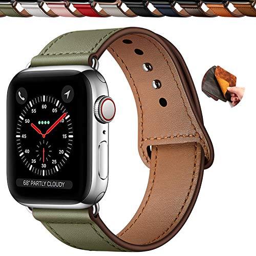 Qeei Compatible with Apple Watch Correa 42mm 44mm,Innovador Hebilla Piel Genuina Encubierto Hebilla Ensure Clean Fit Correa Replacment for iWatch Series 5 & 4 3/2/1