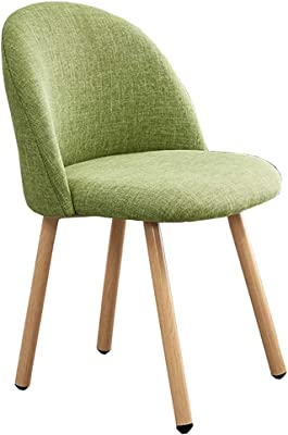 LJFYXZ Modern Design Dining Chairs Kitchen Chairs Arc Backrest Ventilate Fabric Cushion Leisure Furniture Carbon Steel Leg Upholstered Seat Bearing Weight 130kg (Color : Green)