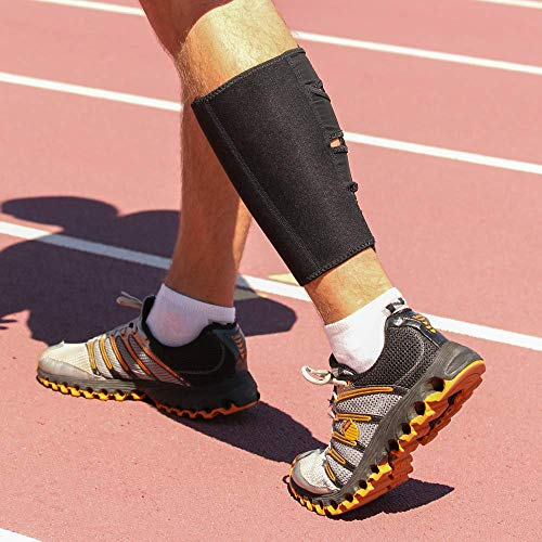Shock Doctor Calf Shin Compression Wrap Brace. Pain Relief, Recovery, Shin Splints, Achilles Tendon Stability and Support. For Running, Football, Basketball and more. Men and Women (1 Sleeve)
