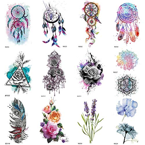 COKTAK 12Pieces/Lot 3D Watercolor Dreamcatcher Temporary Tattoos For Women Body Art Arm Fake Jewelry Tattoo Sticker Dream Catcher Flower Pendants Waterproof Girls Tatoos Sheet