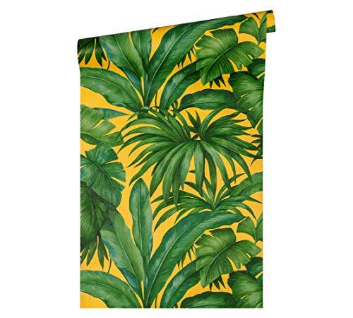 Versace wallpaper Vliestapete Giungla Luxustapete mit Palmenblättern Dschungel 10,05 m x 0,70 m gelb grün Made in Germany 962403 96240-3