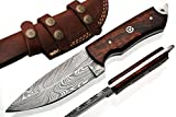 Handmade Damascus Steel Hunting Knife 8.5 Inches With Leather Sheath G-1051_W