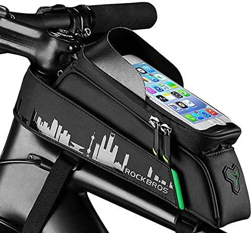 Aolfay Borsa Bici Telaio, Borsello Bici Impermeabile con Portacellulare di TPU Touchscreen per Telefoni sotto 6,0 Pollici, Borse Bici con Parasole/Foro per Cuffie, Accessori per Bicicletta MTB