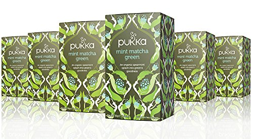 Pukka Herbs Organic Mint Matcha Green Tea, 20 individually wrapped tea bags, 6 Count