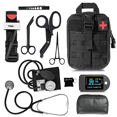 ASA Techmed Tactical Black First Responder Triage Kit Molle Military Style EMT Medical Pouch (Basic)