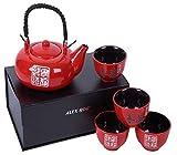 Service à thé Asiatique en céramique, motif lettres Japonaises, 4 tasses, coffret de...