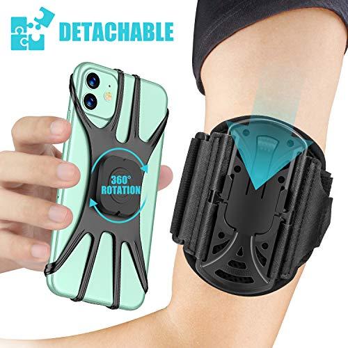 Cocoda Abnehmbares Handytasche Laufen, 360° Drehbare Sports Armband, Universal Armtasche Handyhalterung Joggen, Handy Armband mit Schlüsselhalter, Kompatibel mit iPhone 11 Pro Max/X/XR/8, Galaxy S20