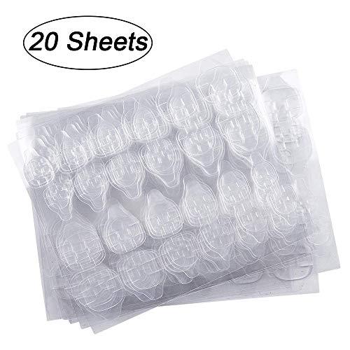 20 Blatt (480 Stück) Doppelseitiger Nagelkleber-Aufkleber, Kalolary Nagelkleber Jelly Gel Tape Adhesive Tabs Nagelkleber Transparent Flexible Adhesive Fake Nails Tips für die Maniküre