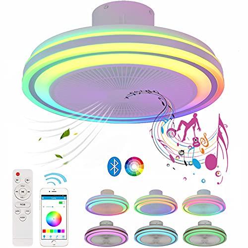 Ventilador Techo con Luz Silencioso y Mando a Distancia Blanco Plafon LED Techo...
