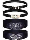 Chuangdi 4 Pieces Women Vintage Waist Belt Elastic Cinch Belt Stretch Retro Waistband for Women Girl Costume Accessory (Style Set 1)