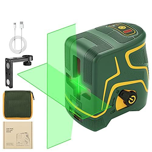 Nivel Laser, USB Charge, 45 m, láser en cruz verde, autonivelo y modo pulsado exterior, dos módulos Laser, soporte magnético, gran angular 120°, 360° giratorio