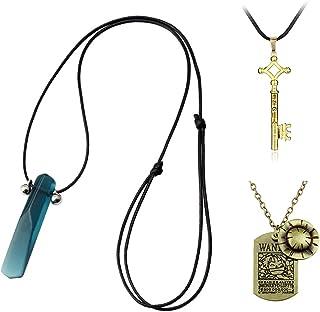 YiYuYiHua One Piece Luffy Skeleton Pendant necklace Cap anime necklace Attack on Titan Necklace Eren Key Vintage Retro Ani...