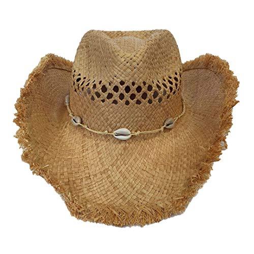 Carnavalife, Sombrero de Paja Natural de Cowboy Vaquero, con Banda de Tela, Unisex Talla Única Hombre Mujer para Verano