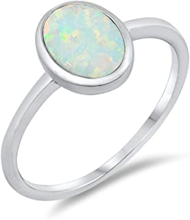 White Simulated Opal Oval Solitaire Cute Ring New .925 Sterling Silver Band Sizes 4-10