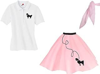 Adult 3 Piece Poodle Skirt Costume Set