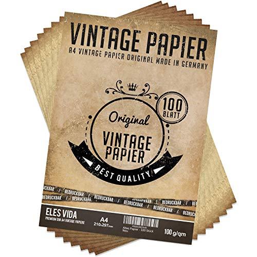 100 Stück DIN A4 Vintage Briefpapier 100g/qm mit 5 Blatt Kraftpapier - Altes Bastelpapier für Urkunden Schatzkarten Bastel Karten, Hochzeit, Geschenke, Nostalgie, Geburtstag, Scrapbooking Motivpapier