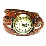 MINILUJIA Bohemian Style Analog Quartz Wrap Around Leather Watch Women Girls Watches with Vintage Bronze Rivet 26mm Dial Brown
